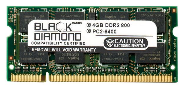Picture of 4GB DDR2 800 (PC2-6400) SODIMM Memory 200-pin (2Rx8)