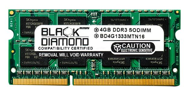 Picture of 4GB DDR3 1333 (PC3-10600) SODIMM Memory 204-pin (2Rx8)