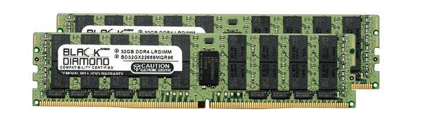 Picture of 64GB Kit (2x32GB) LRDIMM DDR4 2666 ECC Registered Memory 288-pin (4Rx4)