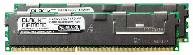 Picture of 64GB Kit (2x32GB) LRDIMM DDR3 1066 (PC3-8500) ECC Registered Memory 240-pin (4Rx4)